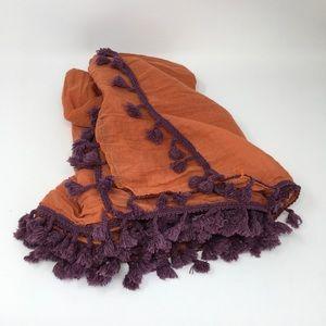 Look Scarf Orange w/Purple Tassel O/S 100% Cotton